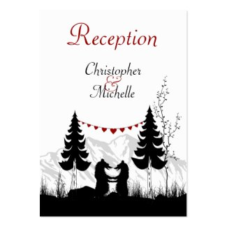 Silhouette Mountain Bears Wedding Reception Cards Business Card
