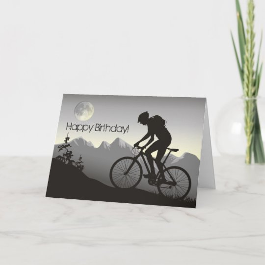 silhouette mountain bike happy birthday card zazzle com
