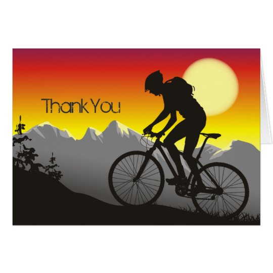 Silhouette Mountain Bike Thank You Card Zazzle Com