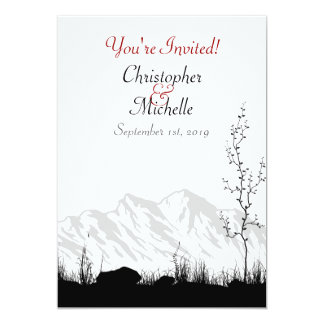 Silhouette Mountain Wedding Invite Black White Red