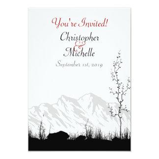 Silhouette Mountain Wedding Invite Black White Red