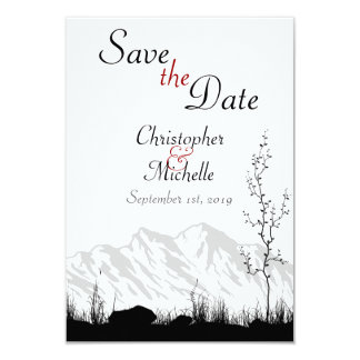 Silhouette Mountain Wedding Save the Date 3.5x5 Paper Invitation Card