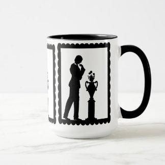 SIlhouette mug, Gentlemen looking at a pedestal Mug