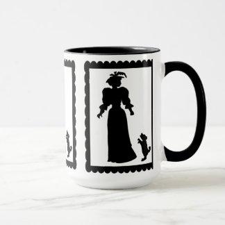 SIlhouette mug, Lady with a dog Mug