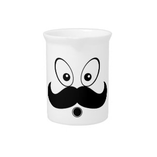 Silhouette Mustach Fuuny Pitcher