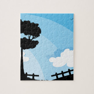 Silhouette nature scene with tree puzzles