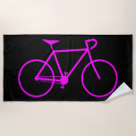 [ Thumbnail: Silhouette of a Bicycle Beach Towel ]