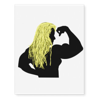 Silhouette of a Blonde Female Bodybuilder Flexing Temporary Tattoos