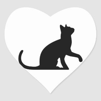 Silhouette of a Cat Entreating Heart Sticker