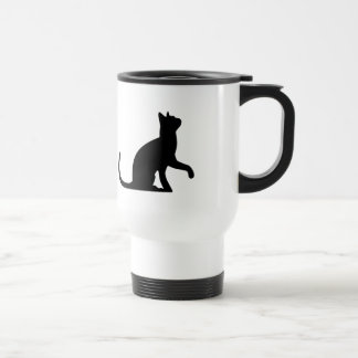Silhouette of a Cat Entreating Travel Mug