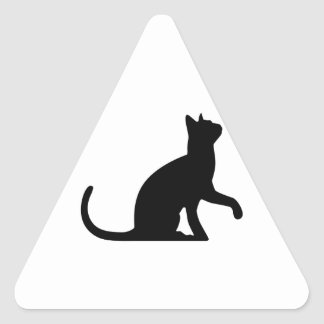 Silhouette of a Cat Entreating Triangle Sticker