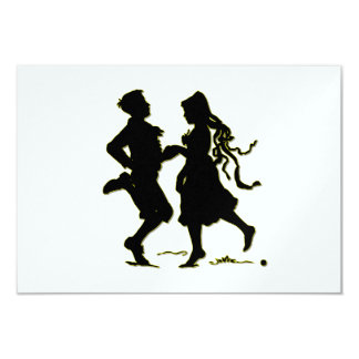 Silhouette of a Couple dancing a jig Card