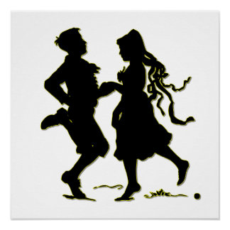 Silhouette of a Couple dancing a jig Poster