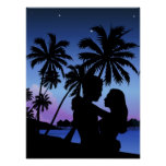 Silhouette of a couple embracing on the beach poster