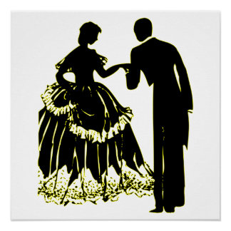 Silhouette of a Couple in Love Poster