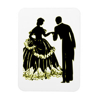Silhouette of a Couple in Love Rectangular Photo Magnet