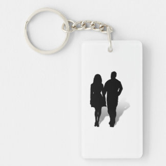 Silhouette of a Couple Double-Sided Rectangular Acrylic Keychain