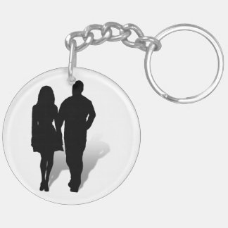 Silhouette of a Couple Double-Sided Round Acrylic Keychain