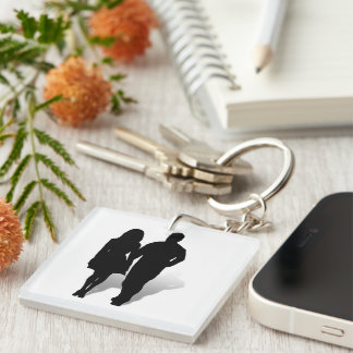 Silhouette of a Couple Double-Sided Square Acrylic Keychain