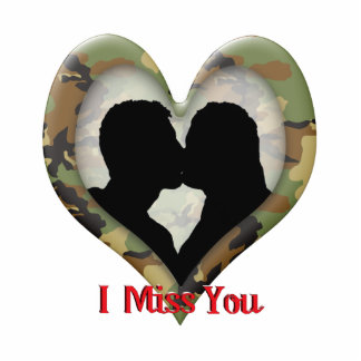 "Silhouette of a Couple Kissing ""I Miss You"" Standing Photo Sculpture"
