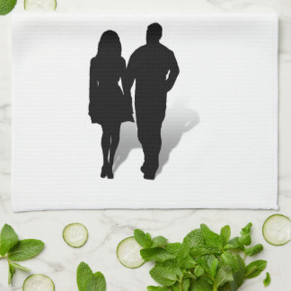 Silhouette of a Couple Towels