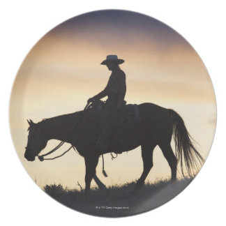 Silhouette of a Cowgirl on her horse against the Melamine Plate