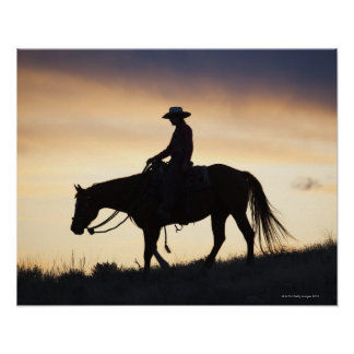 Silhouette of a Cowgirl on her horse against the Poster