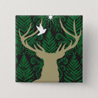 Silhouette of a deer, a dove and a star against a button