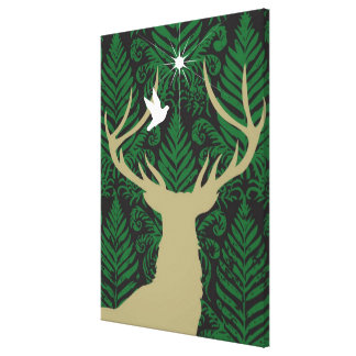 Silhouette of a deer, a dove and a star against a canvas print