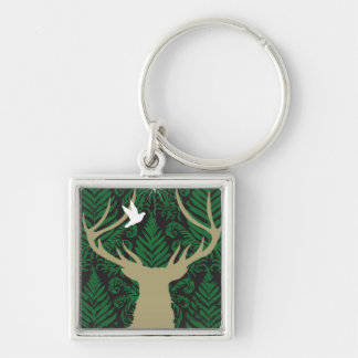 Silhouette of a deer, a dove and a star against a keychain
