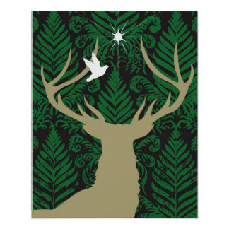 Silhouette of a deer, a dove and a star against a poster