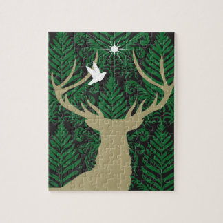 Silhouette of a deer, a dove and a star against a puzzle