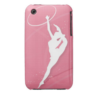 Silhouette of a female gymnast performing with a iPhone 3 case