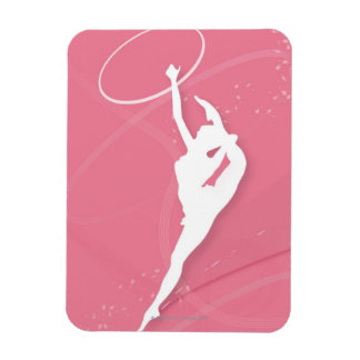 Silhouette of a female gymnast performing with a rectangular photo magnet