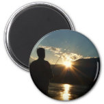 Silhouette of a Fisherman 2 Inch Round Magnet