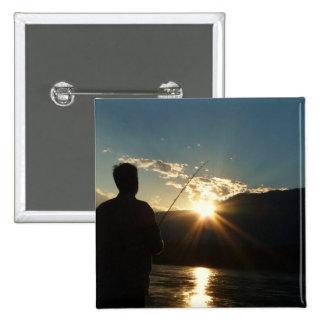 Silhouette of a Fisherman Pinback Button