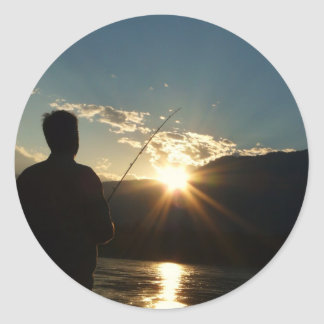 Silhouette of a Fisherman Classic Round Sticker