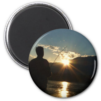 Silhouette of a Fisherman Magnet