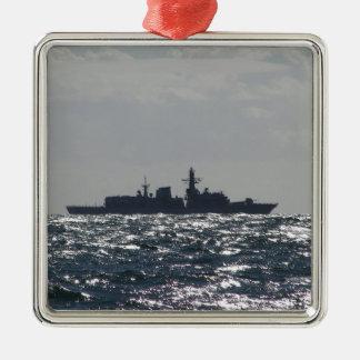 Silhouette Of A Frigate Metal Ornament
