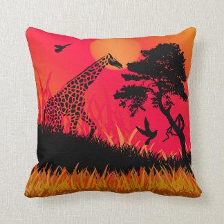 Silhouette of a Giraffe Feeding Throw Pillow