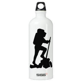 Silhouette of a Hiker Hiking Up a Mountain Aluminum Water Bottle