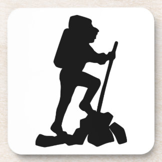 Silhouette of a Hiker Hiking Up a Mountain Drink Coasters