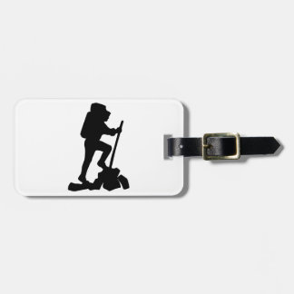 Silhouette of a Hiker Hiking Up a Mountain Luggage Tag