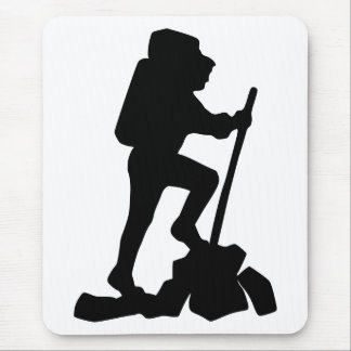 Silhouette of a Hiker Hiking Up a Mountain Mouse Pad