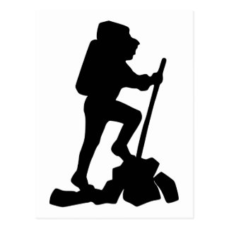 Silhouette of a Hiker Hiking Up a Mountain Postcard