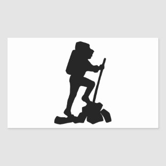 Silhouette of a Hiker Hiking Up a Mountain Rectangular Sticker