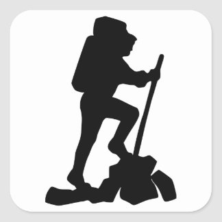 Silhouette of a Hiker Hiking Up a Mountain Square Sticker