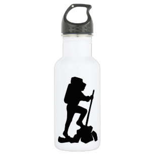 Silhouette of a Hiker Hiking Up a Mountain Stainless Steel Water Bottle