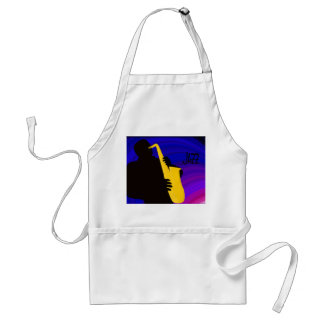 Silhouette of a jazz player, blue & purple adult apron