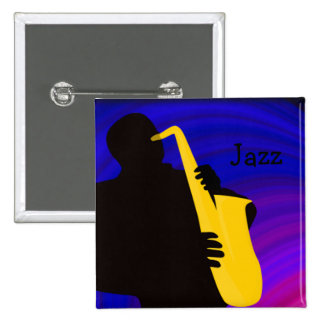 Silhouette of a jazz player, blue & purple button